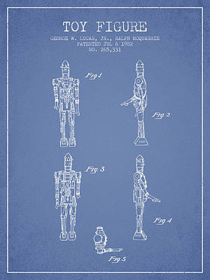 Science Fiction Royalty-Free and Rights-Managed Images - Star Wars Toy Figure no5 patent drawing from 1982 - Light Blue by Aged Pixel