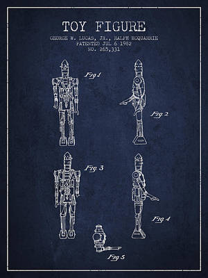 Science Fiction Royalty-Free and Rights-Managed Images - Star Wars Toy Figure no5 patent drawing from 1982 - Navy Blue by Aged Pixel