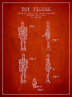 Outerspace Patenets - Star Wars Toy Figure no5 patent drawing from 1982 - red by Aged Pixel