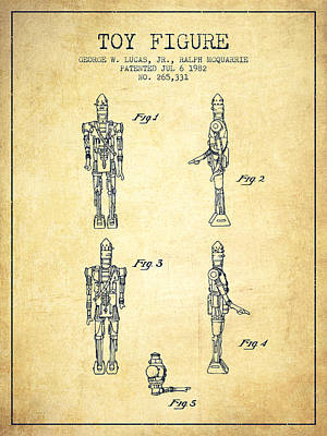 Science Fiction Royalty-Free and Rights-Managed Images - Star Wars Toy Figure no5 patent drawing from 1982 - Vintage by Aged Pixel