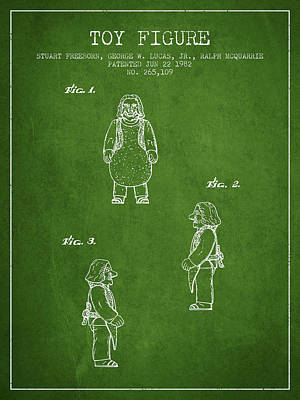 Science Fiction Royalty-Free and Rights-Managed Images - Star Wars Toy Figure patent drawing from 1982 - Green by Aged Pixel