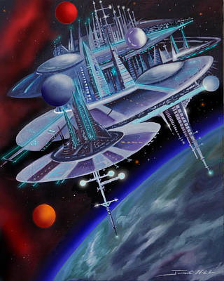 Mars Black Painting - Starbase I - Alisona  by James Christopher Hill