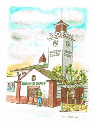 Starbucks Coffee At Farmers Market In Fairfax Ave And 3rh Street - Los Angeles - California Art Print by Carlos G Groppa
