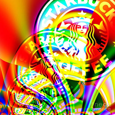 Rhythmic Digital Art - Starbucks Coffee In Abstract 20140704 Square V1 by Wingsdomain Art and Photography