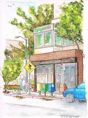 Santa Monica Painting - Starbucks Coffee In Montana Street, Santa Monica, California by Carlos G Groppa