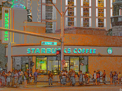 Painting - Starbucks Las Vegas Strip by David Lee Thompson