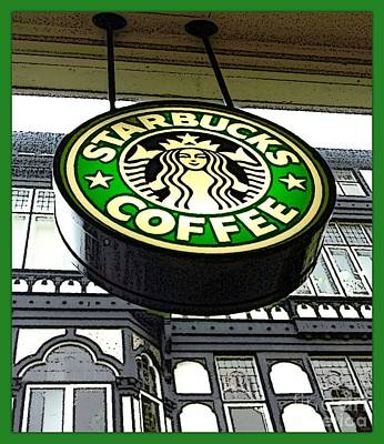 Photograph - Starbucks Logo 2 by Joan-Violet Stretch
