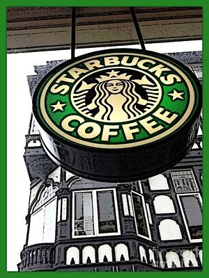 Photograph - Starbucks Logo by Joan-Violet Stretch