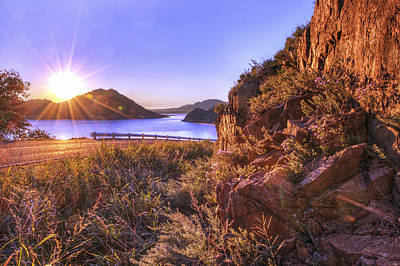 Photograph - Starburst Sunrise At The Quartz Mountains - Oklahoma by Jason Politte