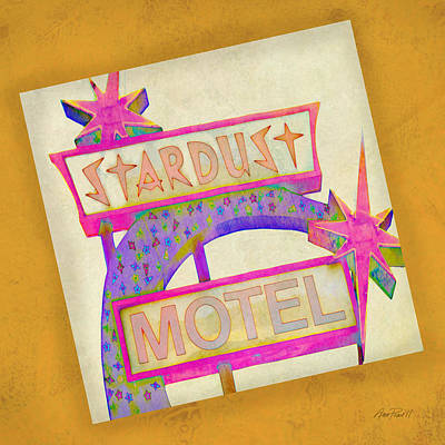 Photograph - Stardust Motel Sign On Yellow  by Ann Powell