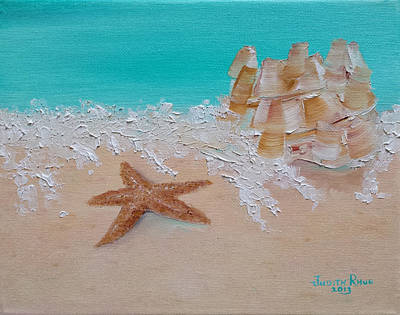 Painting - Starfish And Sandcastle by Judith Rhue