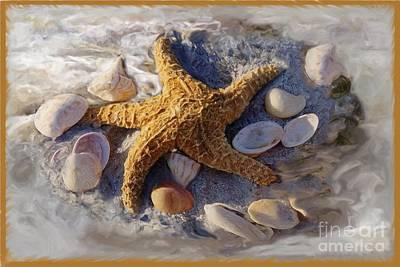 Photograph - Starfish And Seashells by Richard Nickson