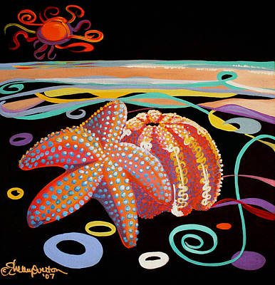 Mixed Media - Starfish And The Sea Urchin by Shelley Overton