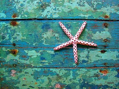 Seashore Peeling Paint - Starfish And Turquoise Art Print