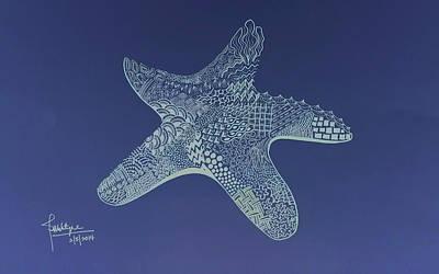 Beach Drawings - Starfish by Debbie McIntyre