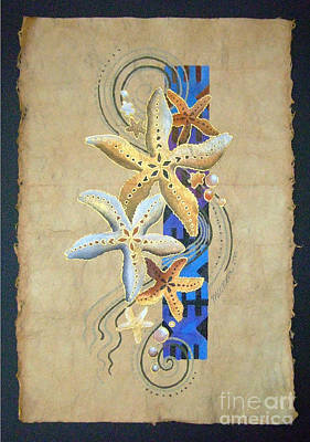 Painting - Starfish On Blue Masi by Maria Rova