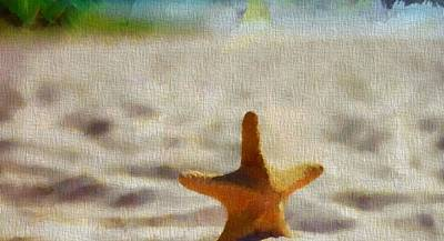 Starfish On Canvas Art Print by Dan Sproul