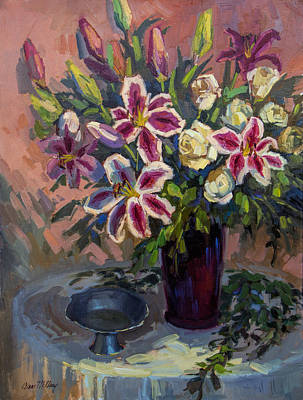 Stargazer Lilies Art Print by Diane McClary