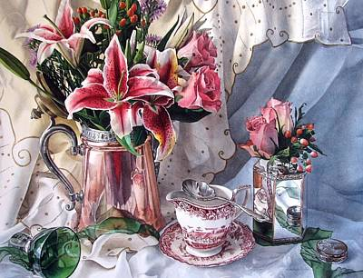 Table Cloth Painting - Stargazer Lilies by Kimberly Meuse