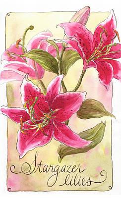 Stargazer Lilies Art Print by Leslie Fehling