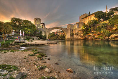 Mostar Photograph - Stari Most At Dusk  by Rob Hawkins