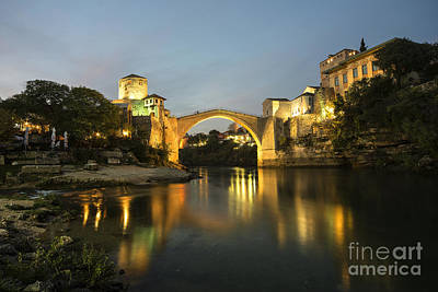 Mostar Photograph - Stari Most By Night  by Rob Hawkins