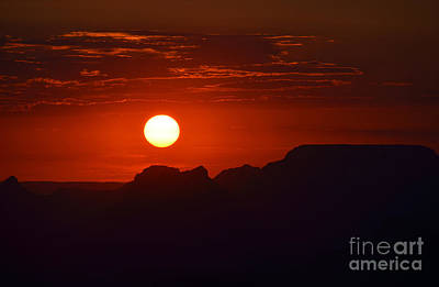 National Park Photograph - Stark Orange Sunset Twilight Over Silhouetted Spires In The Grand Canyon by Shawn O'Brien