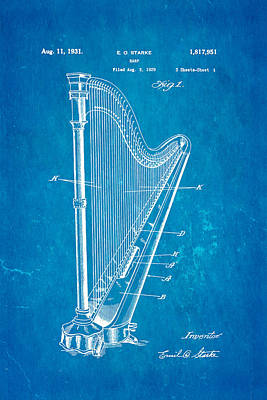 Photograph - Starke Harp Patent Art 1931 Blueprint by Ian Monk