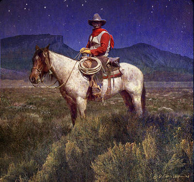Starlight Cowboy Durango Art Print by R christopher Vest