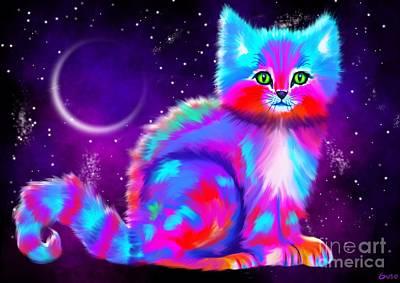 Kitty Digital Art - Starlight Kitten by Nick Gustafson