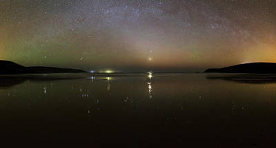Cassiopeia Constellation Photograph - Starlight Reflected In A Bay At Night by Laurent Laveder