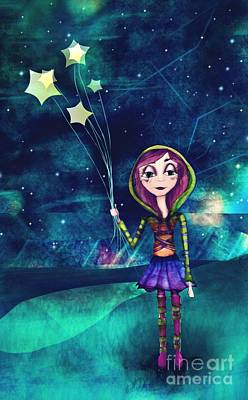 Little Girl Mixed Media - Starloons by Kristin Hodges