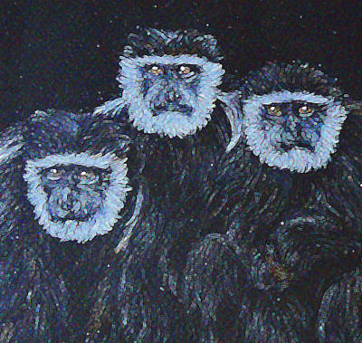 Painting - Starry-eyed Colobus Trio by Margaret Saheed