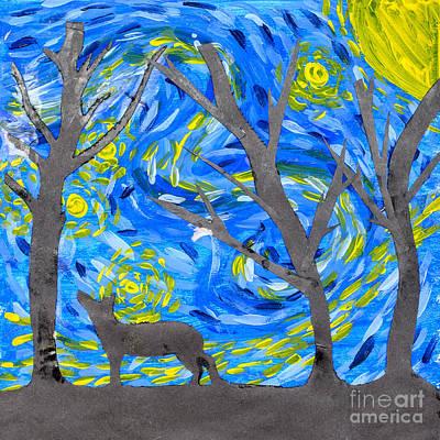 Treeline Painting - Starry Forest by Amanda Elwell