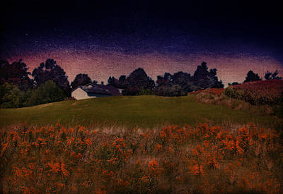 Starry Indigo Blue Twilight In The Country  Art Print