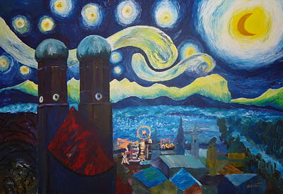 Wiesn Painting - Starry Munich With Oktoberfest - Inspired By Van Gogh And Wiesn by M Bleichner