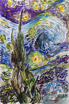 Painting - Starry Night After Vincent Van Gogh by Ginette Callaway