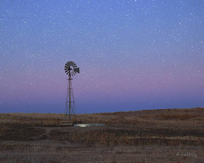 Photograph - Starry Windmill by Andrea Kelley
