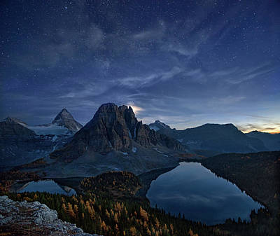 Canadian Landscape Photograph - Starry Night At Mount Assiniboine by Yan Zhang