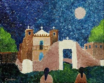 Painting - Starry Night At The Pueblo by Carolene Of Taos