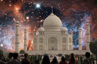 Circle In The Square Photograph - Starry Night At The Taj Mahal by Stephen Carver