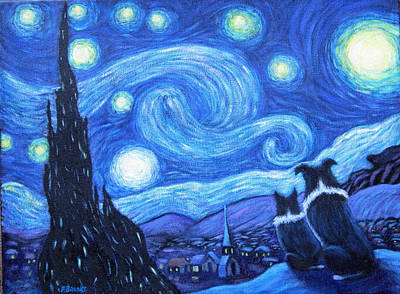Art Print featuring the painting Starry Night Border Collies by Fran Brooks