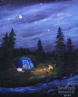 Starry Night Campers Delight Art Print by Myrna Walsh