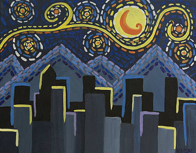 Owls - Starry Night Cityscape by Angelina Tamez