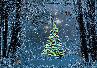 Madonna Digital Art - Starry Night Forest Christmas by Michele Avanti
