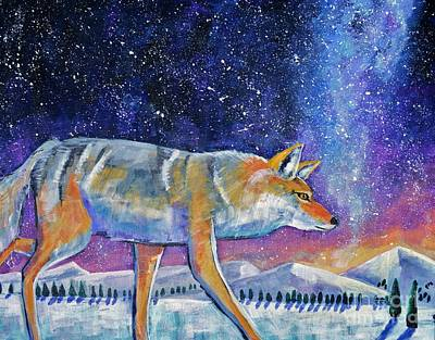 Coyote Art Painting - Starry Night by Harriet Peck Taylor