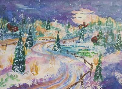 Painting - Starry Night In A Winter Wonderland by Ellen Levinson