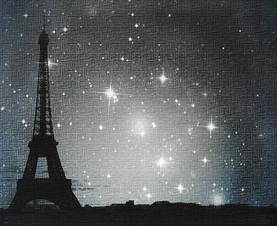 Starry Night In Paris - Eiffel Tower Photography  Art Print