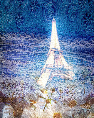 Painting - Starry Night In Paris by Mo T