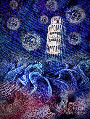 Renaissance Mixed Media - Starry Night In Pisa by Mo T